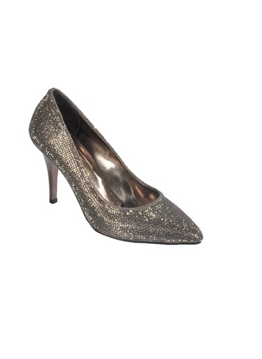 Mhd 012 Platin Kadın Topuklu Ayakkabı Gümüş
